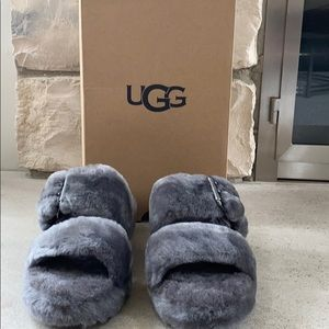 NWT in box ugg fuzz yeah charcoal slipper size 8